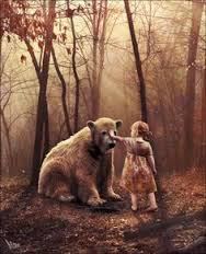 bear and girl touch