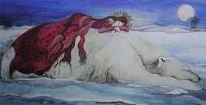 bear and woman sleeping